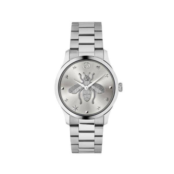 グッチの腕時計「G-タイムレス」新作、ビー モチーフを描いたグリーン・レッド・グリーンの文字盤