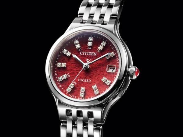 女性向け高級時計「シチズン エクシード プレシャス」深紅の和紙×ダイヤモンドの限定モデル発売