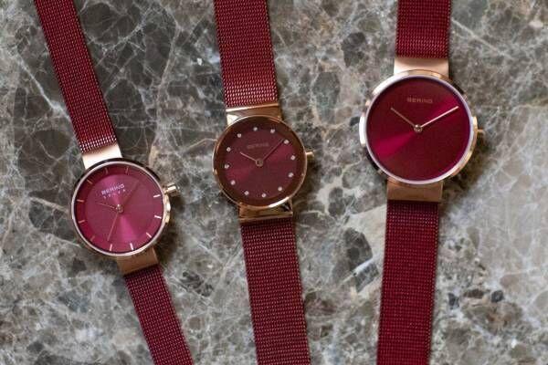 """ベーリング、""""上品レッド""""の新作レディース腕時計 - ミニマル&華奢デザインの6型"""