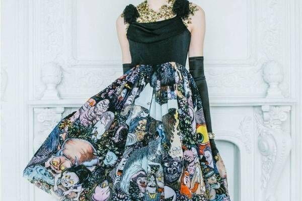 """水木しげるの""""妖怪""""ドレスがジュリエットエジュスティーヌから、チュールに「妖怪幻想」をプリント"""