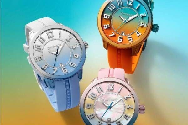 スイス時計ブランド「テンデンス」グラデーションカラーの新作腕時計、空やビーチ着想の3種
