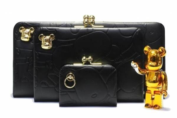 ジャムホームメイド×ベアブリック、金のベアブリックフェイス付きがま口財布&ホテルキーホルダー