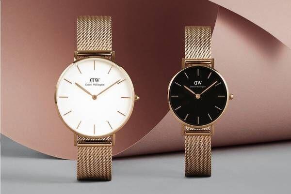 ダニエル・ウェリントンの腕時計「クラシックペティット」に36mm文字盤×メッシュストラップの新作