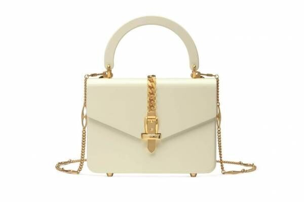 """グッチの新作バッグ""""ダブルG""""を配したスカーフ付きスエードショルダー&プレキシガラスのハンドバッグ"""