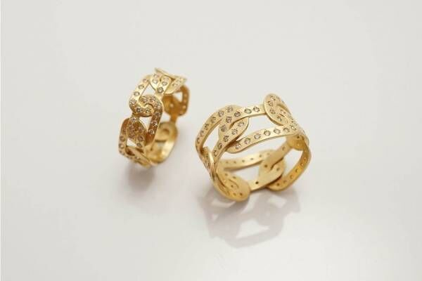 トーカティブ「ジョイント」新作リング、チェーンを編み込んだようなゴールド×ダイヤのモチーフ