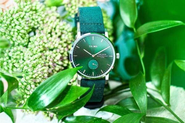"""トリワ""""エメラルド""""カラーの新作腕時計、アルカンターラのヴィーガンレザーをストラップに"""