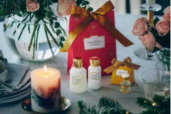 フローラノーティス ジルスチュアートのクリスマス19年、ローズ香るキャンドルやボディケアセット
