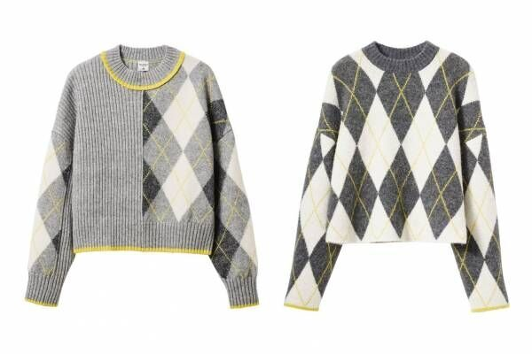 H&M×プリングル オブ スコットランド、ビッグサイズのアーガイル柄セーター&ロゴ入りスウェット