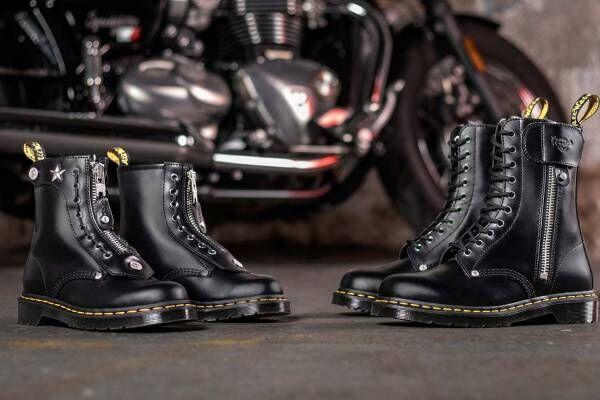 """ドクターマーチン×ショットのブーツ、""""星のスタッズ""""などライダースジャケットのディテールを採用"""