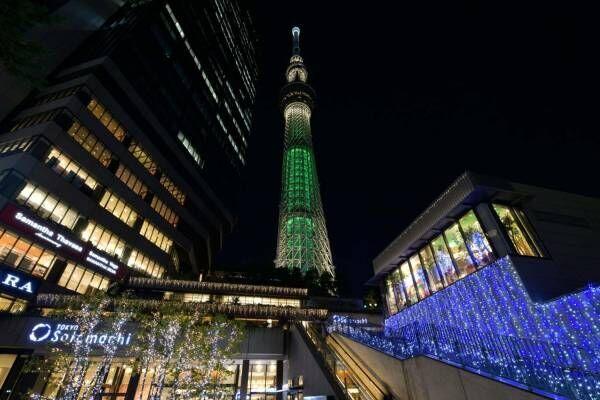 東京スカイツリータウンのクリスマス、イルミネーション&シャンパンゴールドの限定ライティング