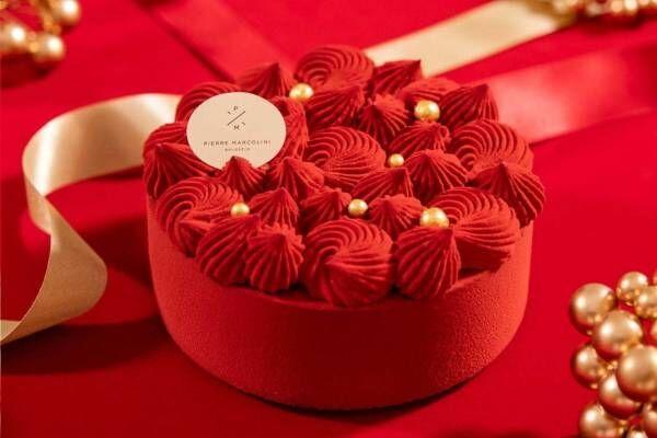"""ピエール マルコリーニ""""真っ赤な""""クリスマスケーキ、ビターチョコレートムース×キャラメル"""