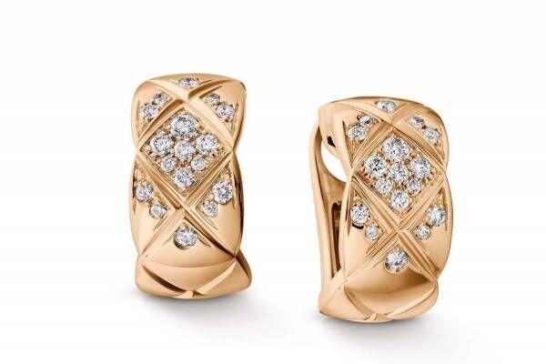 シャネルのジュエリー「ココ クラッシュ」新作、ベージュゴールドにダイヤモンドきらめくイヤリングなど