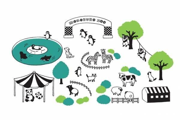 Suicaのペンギン作家による限定ストア「モノクロ動物園」伊勢丹新宿で、原画や限定グッズなど