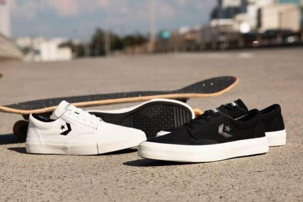 コンバース スケートボーディングの新作スニーカー、シェブロン&スターのロゴを配したシンプルな一足