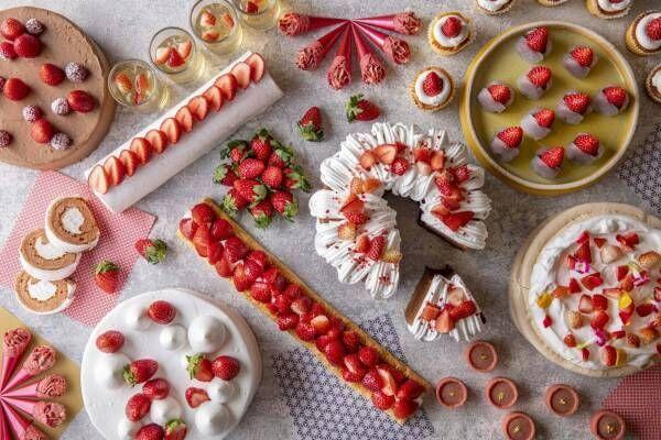 「いちごだらけのデザートビュッフェ」ヒルトン小田原リゾート&スパで、ピンクの苺タルトやタピオカなど