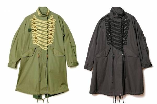 sacai ドーバー限定のモッズコート、ナポレオンジャケットの装飾を加えて