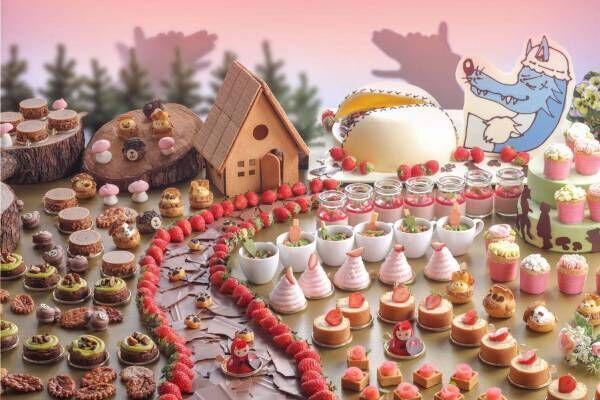 """""""赤ずきん""""のいちごスイーツブッフェ、シェラトン都ホテル大阪で - クマのマカロンや花のカップケーキ"""