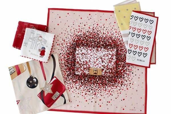 フルラ19年クリスマス限定ハンカチ - バッグ&ハイヒール柄で、パーティーをイメージ