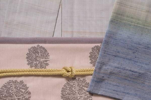 """志村ふくみ源流のアトリエシムラ×ミナ ペルホネンのコラボ帯、桜や樫で染めた糸の""""雪の芽""""刺繍など"""