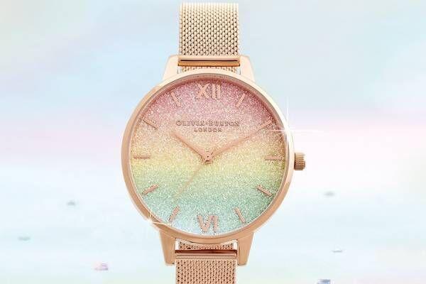 """オリビア・バートン""""60年代""""着想の新作腕時計、レトロなレインボーグリッターや花柄の文字盤"""