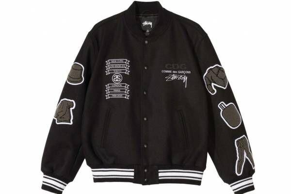 ステューシー&コム デ ギャルソン限定バーシティジャケット、洋服モチーフのパッチ&バックにCDGロゴ