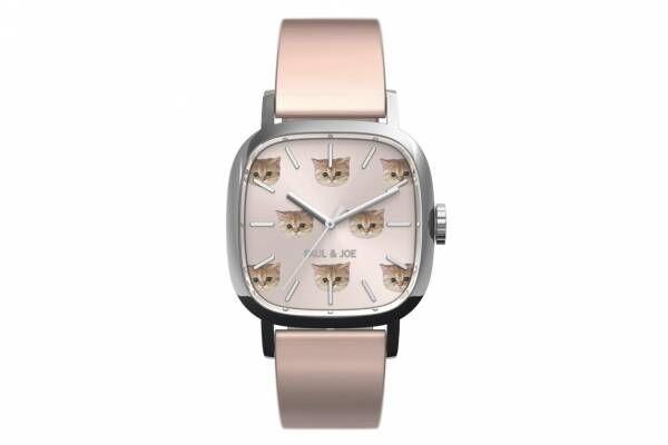 """ポール & ジョー""""猫""""モチーフの限定腕時計「スクエア ヌネット」猫の顔を描いた桜色ダイアル"""