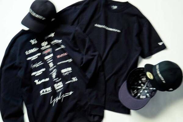 ヨウジヤマモト×ニューエラ、ヨウジヤマモト社ブランド・ラインのロゴを並べたキャップやTシャツ
