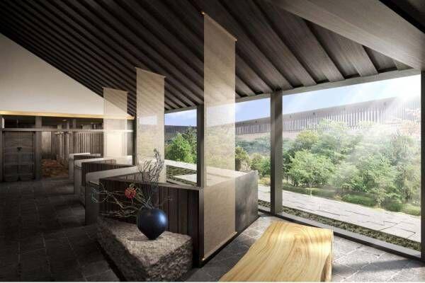 """隈研吾の建築デザインホテル「ふふ 奈良」が奈良公園内に - """"縁側""""着想のリビングなど"""
