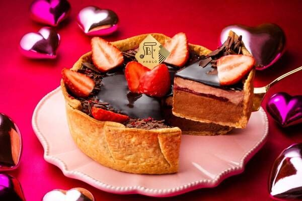 """パブロの期間限定""""いちご×フランボワーズ""""のチョコチーズタルト、4種のショコラを重ねて"""
