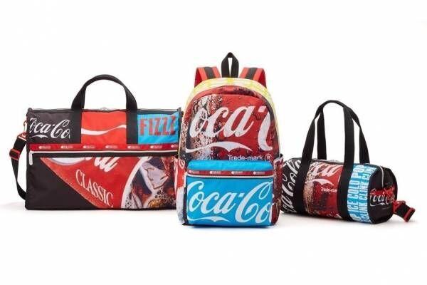 レスポートサック「コカ・コーラ」コラボバッグ、ロゴを配したバックパックやカップ型ポーチ