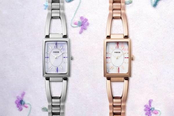 """ウィッカ""""すみれの花""""モチーフの腕時計をチックタック限定で、上品すみれ色 or 優しいピンク色"""
