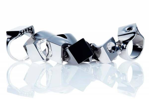 """コアジュエルスの新作リング、シルバーやゴールドの""""歪んだ""""形&クレーターに埋め込むダイヤモンド"""