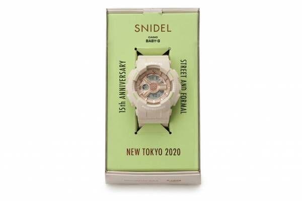 スナイデル「BABY-G」コラボ腕時計、ピンクベージュのボディ×ライムカラーのロゴ