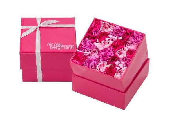 """ニコライ バーグマン""""母の日""""限定フラワーボックス、鮮やかピンクのカーネーション&バラをたっぷり"""