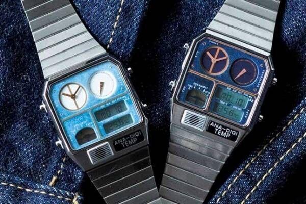 ムーブメント・イン・モーションの新作腕時計「アナデジテンプ・デニム」シチズン名機の文字盤をデニム風に