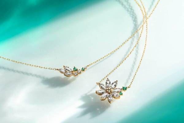 4℃の新作ジュエリー - 夏の睡蓮やあじさいをイメージしたネックレス、ダイヤモンドや天然石を使用