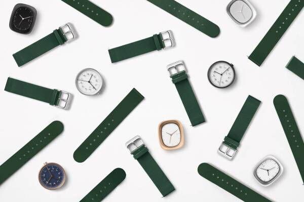 デザインオフィスnendoの新作腕時計ストラップ、飛行機の窓や定規モチーフの腕時計に付け替え可能