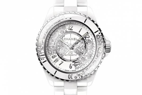 シャネルの腕時計「J12」20周年記念モデル、ライオンやカメリアの花など20のモチーフを散りばめて