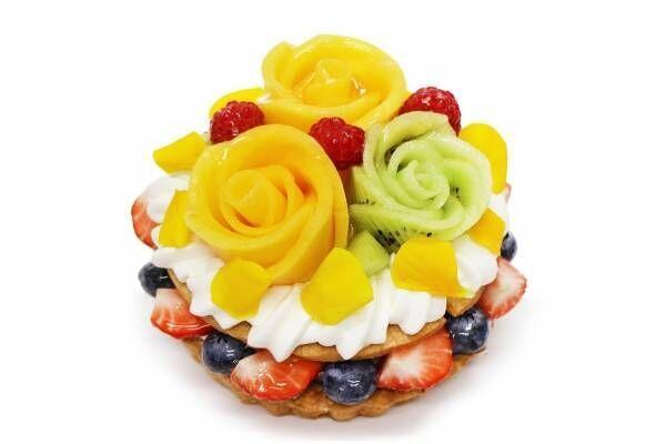 """カフェコムサ父の日ケーキ、""""バラの花""""に見立てたとろけるマンゴー&キウイ"""
