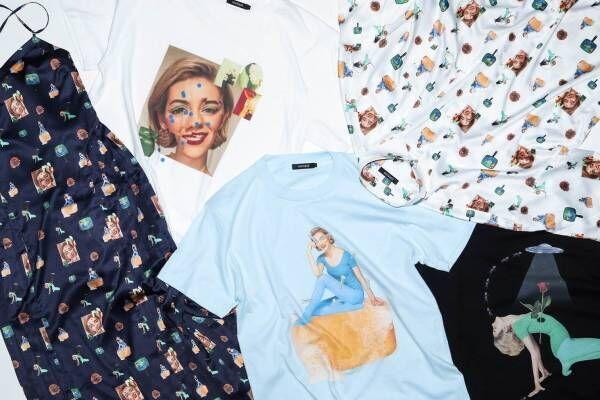 """ラブレス×とんだ林蘭のTシャツやワンピース、""""ひと昔前のヨガ""""から着想したグラフィックをプリント"""