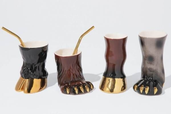 """ディーゼルリビング""""動物の足""""マグカップ、ヒョウやクマがモチーフ&花瓶にしてもOK"""