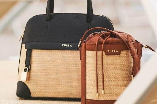 フルラ「ラフィア」素材×上品レザーの新作バッグ、トートやバケツ型