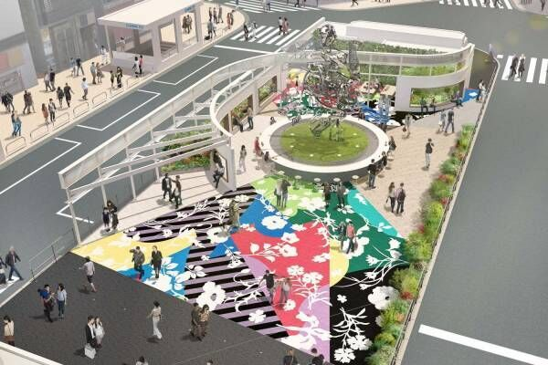 新宿東口駅前広場がリニューアル、7mの巨大モニュメントなどアート中心のコミュニティスペースに
