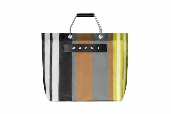 「マルニ マーケット」名古屋ラシックで、ソフトベージュの新色ストライプバッグやピクニックバッグ
