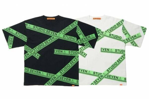 """NAOTO手掛けるスタジオ セブン""""グリーン""""のコーショングラフィック用いたTシャツやキャップなど"""