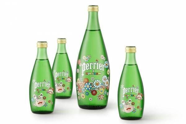 仏天然水「ペリエ」村上隆デザインボトルで登場、フラワーイラストを描いて - 数量限定デコボトルも