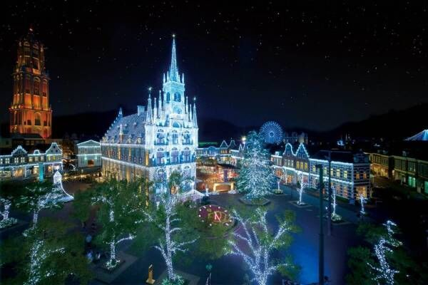ハウステンボスで冬イルミネーション「光の王国」ベルギーの古都を再現したクリスマスタウンも