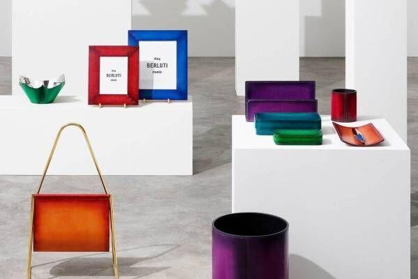 ベルルッティのホーム&オフィスアイテム、上質なヴェネチアレザーのマガジンラックやレザー花瓶など