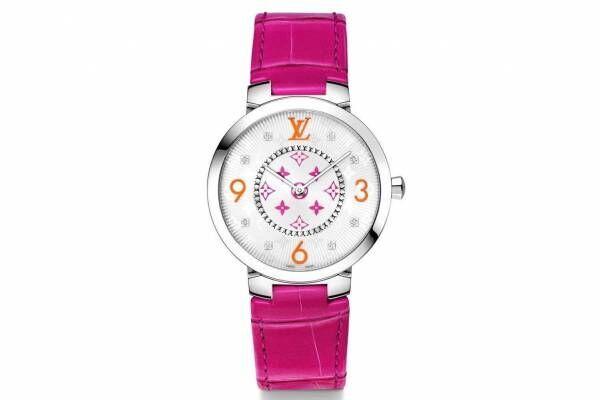 """ルイ・ヴィトンの腕時計「タンブール スリム」""""フューシャピンク&オレンジ""""の華やか限定ウォッチ"""