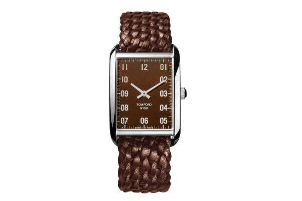 トム フォード タイムピースとロンハーマンの腕時計「N.001」ブラウン文字盤&編み込みレザーバンド